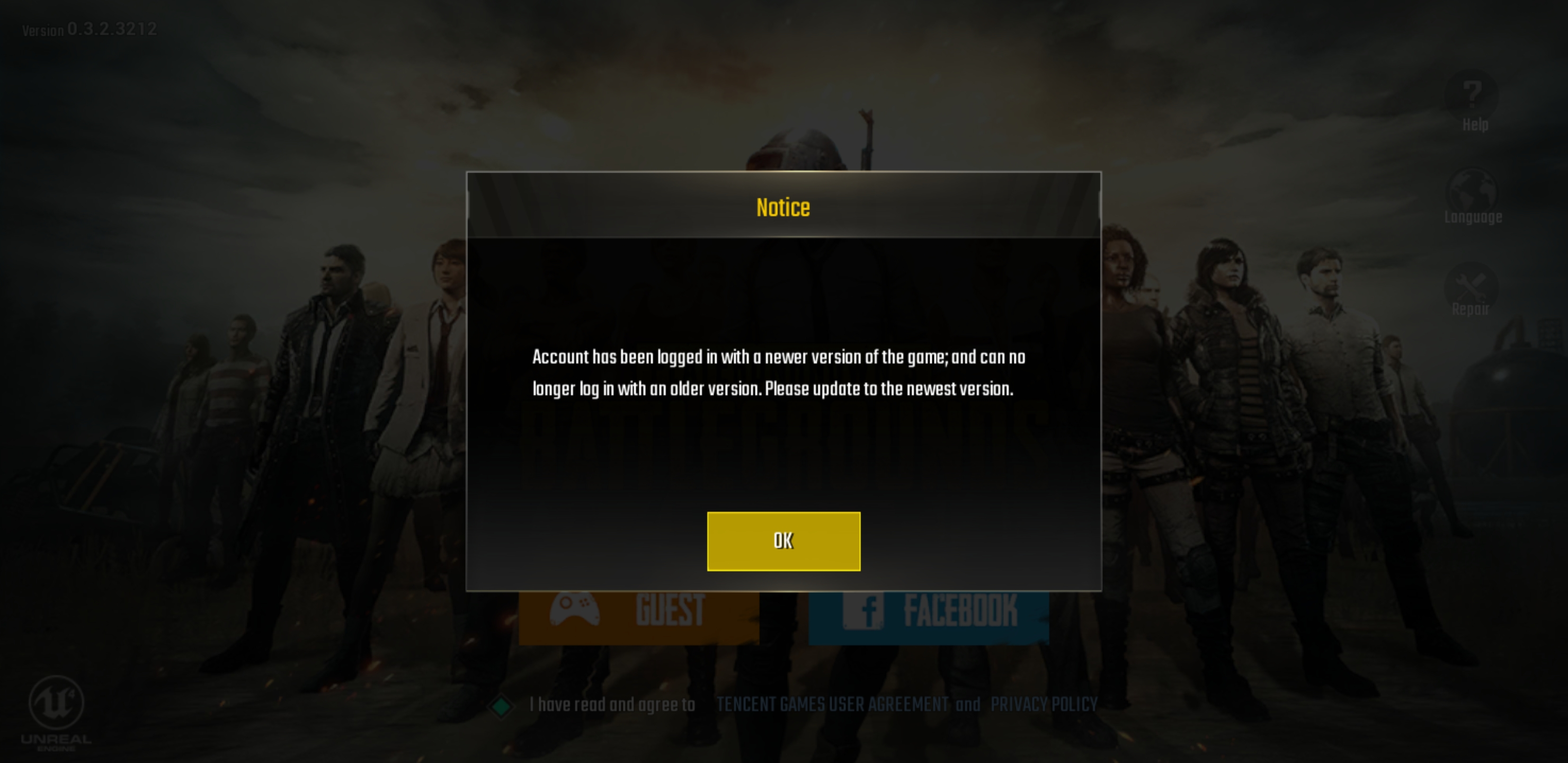 PUBG Mobile Facebook Login Notice